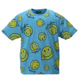SMILEY FACE 総柄プリント半袖Tシャツ ターコイズ