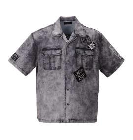 ケミカルデニム半袖オープンシャツ