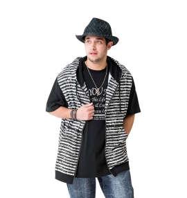 インクボーダーノースリーブパーカー+半袖Tシャツ