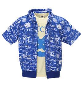 ミニ裏毛半袖フルジップパーカー+半袖Tシャツ