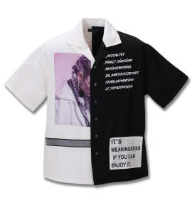 配色切替半袖シャツ